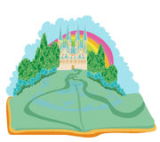 Fairy castle appearing from the book. Magic world of tales, fairy castle appearing from the book Royalty Free Stock Images