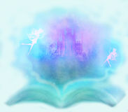 Fairy castle appearing from the book. Magic world of tales, fairy castle appearing from the book Stock Photography