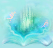 Fairy castle appearing from the book. Magic world of tales, fairy castle appearing from the book Royalty Free Stock Image