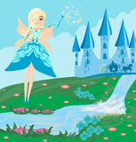 Fairy, Castle and a carriage. Illustration of a fairy, Castle and a carriage Royalty Free Stock Photography