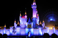 Fairy castle in the night of Shijingshan amusement park,Beijing,China Stock Photo