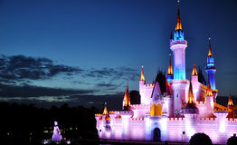 Fairy castle in the night of Shijingshan amusement park,Beijing,China Stock Image