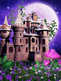 Fairy castle on a purple meadow. Fairy castle on a fantasy purple meadow with mushrooms Stock Photo