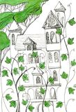 Fairy castle with towers among the climbing plants. Fantasy drawing Royalty Free Stock Photography