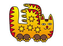 A fairy cat with wings. Positive picture in yellow, orange, red colors. A fairy cat with wings. Drawing for children. Positive pattern in yellow, orange, red Royalty Free Stock Photography
