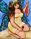 Fairy catches a fish Stock Image