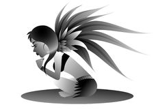 Fairy character. Black and white illustration of a winged fairy sitting.  Isolated against a white background.  Vector format available Royalty Free Stock Photos