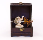 Fairy, chest and butterfly Royalty Free Stock Images