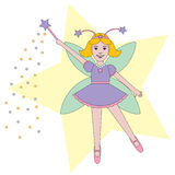Fairy Child. Illustration of fairy child sprinkling pixie dust from wand. EPS8 vector file also available Royalty Free Stock Images