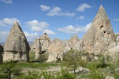 Fairy Chimney Houses, Cappadocia, Turkey. Royalty Free Stock Photo