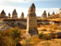 Fairy Chimneys. Beautiful fairy chimney houses in Cappadocia, Turkey Stock Photo