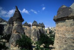 Fairy chimneys in badlands Royalty Free Stock Photography