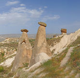 Fairy chimneys and balancing rocks Royalty Free Stock Photo
