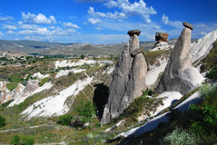 Fairy chimneys in Cappadocia stock photography