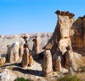 Fairy chimneys in Cappadocia. Fairy chimneys (rock formations) near Goreme, Cappadocia, Turkey stock images