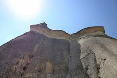 Stone and SUN - geologic stones. Fairy Chimneys rock formation, in Cappadocia, in Central Anatolia Royalty Free Stock Images