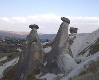 Rock formation,  geologic stones. Fairy Chimneys rock formation, in Cappadocia Stock Images