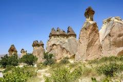 Fairy chimneys, Cappadocia, Turkey. Rock formations in Cappadocia, Turkey known as fairy chimneys Royalty Free Stock Image
