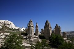Fairy chimneys rock formations in Cappadocia Stock Images
