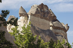 Fairy chimneys towering high over Pasabag Royalty Free Stock Images