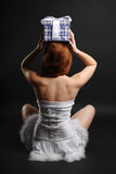 Fairy with a christmas gift at the New Years night Royalty Free Stock Photo