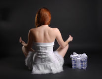 Fairy and christmas gift, rear view Stock Photos