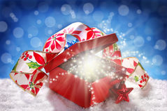 Fairy christmas gift in red box Royalty Free Stock Images