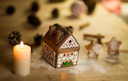 Fairy Christmas house cake Royalty Free Stock Images