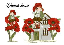 Fairy Clipart DWARF HOUSE Color Vector Illustration Set Cartoon Picture royalty free illustration