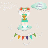 Fairy on the cloud, birthday card Royalty Free Stock Images