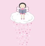 Fairy on a cloud reading Stock Photography