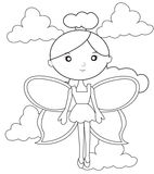 Fairy on the clouds coloring page. Useful as coloring book for kids Stock Photo