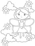 Fairy on the clouds with flowers coloring page. Useful as coloring book for kids Stock Image