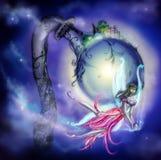 Fairy com um crânio em suas mãos ilustração stock
