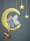 Fairy con una tigre sulla luna a mezzaluna Fotografia Stock Libera da Diritti