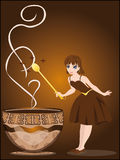 The fairy conjures with a cup of coffee Stock Photos