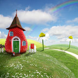 Fairy-cottage. Nice picture-collage with a pretty strawberry shack Stock Images
