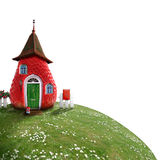 Fairy-cottage. Nice picture-collage with a pretty strawberry shack Stock Image