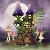 Fairy cottage with fern vector illustration