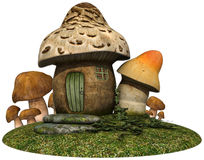 Fairy cottage with mushrooms Stock Photos