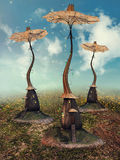 Fairy cottages with umbrellas Royalty Free Stock Photo