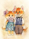 Fairy couple of cats. A pair of red fluffy kittens with pink shu. A pair of red fluffy kittens with pink shushes and green eyes stand in clothes a dress with royalty free illustration