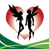 Fairy Couple Love. Two fairy lazy and fairy boy designed with love symbol behind Stock Images