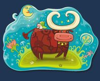 Fairy cows at Magic field. Cute friendly cows. 2009 is the Year of the Ox according to the Chinese Zodiac. To see similar, please VISIT MY GALLERY Royalty Free Stock Images