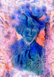 Fairy creature illustration with abstract ornamental pattern Royalty Free Stock Image