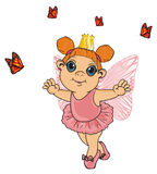 Fairy in crown with butterflies Stock Image