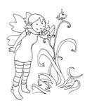 Fairy da flor preto e branco Fotografia de Stock Royalty Free