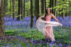 Fairy dance in springtime forest. Innocent young woman with pink fairy dress in a springtime bluebells forest Stock Photography