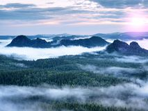 Fairy daybreak in a beautiful hilly landscape Royalty Free Stock Images