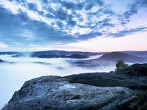 Fairy daybreak in a beautiful hilly landscape Stock Photography